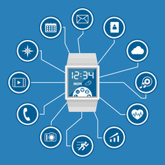 Smart Watch with Application Icons