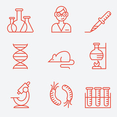Science and research icons, thin line style, modern flat design