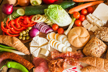 Assorted grocery products, top view