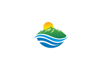 mountain-sun-and-water-vector-logo