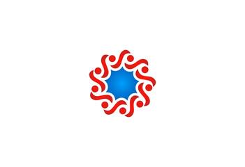 people circle decoration vector logo