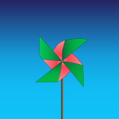 Bright colored pinwheel on blue background. Vector