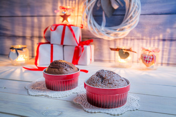 Two brown muffins for Christmas
