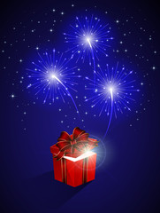 Blue firework and gift box
