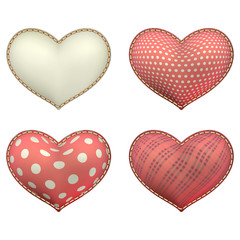 Heart-shaped soft toy set isolated. EPS 10