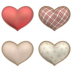 Heart-shaped soft toy set isolated. EPS 10