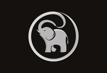Elephant silhouette vector logo