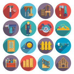 Carpentry icons flat