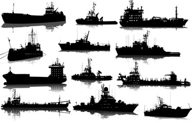 Vector set of 12 silhouettes of sea towboat and the ships