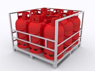 Rote Gasflaschen auf Palette