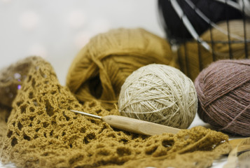 Knitting tools. Yarn, crochet