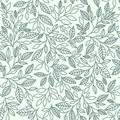Seamless pattern, stylized leaves on vintage background