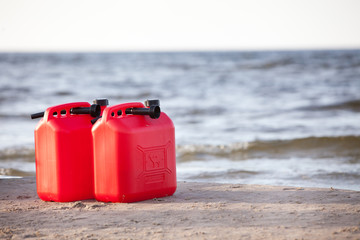 Red petrol cans