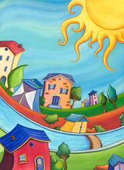 Colorful cartoon houses scenery