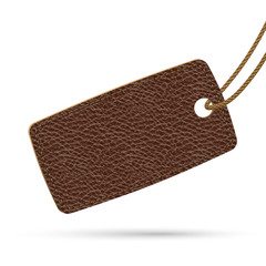 Brown leather price tag. Raster illustration.