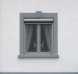 Graues PVC Fenster mit Vorbaurollladen