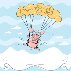 Vector of cute pig flying with parachute over the mountains
