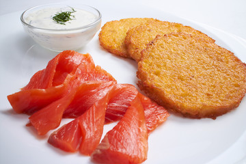 potato pancakes with salmon