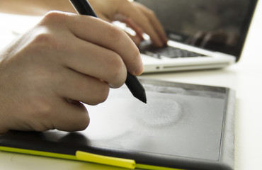 desginer with graphic tablet