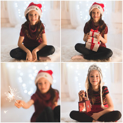 smiling girl with gift boxes and sparkler