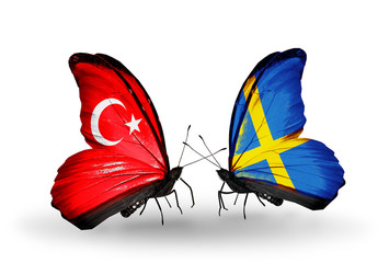 Two butterflies with flags Turkey and Sweden