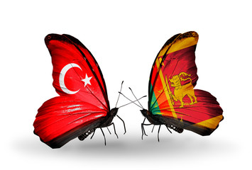 Two butterflies with flags Turkey and Sri Lanka