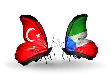 Two butterflies with flags Turkey and Equatorial Guinea