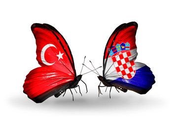 Two butterflies with flags Turkey and Croatia