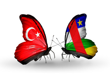 Two butterflies with flags Turkey and CAR