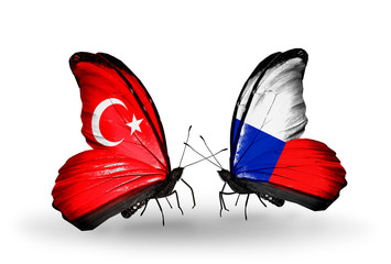 Two butterflies with flags Turkey and Czech
