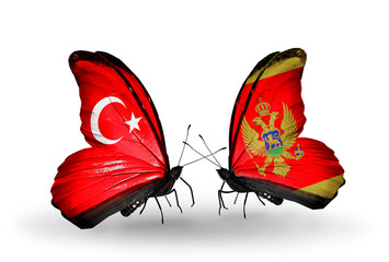 Two butterflies with flags Turkey and Montenegro