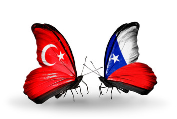 Two butterflies with flags Turkey and Chile
