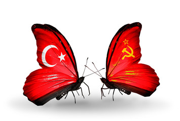 Two butterflies with flags Turkey and Soviet Union