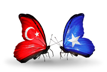 Two butterflies with flags Turkey and Somalia