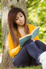 Female student reading book against tree trunk in park