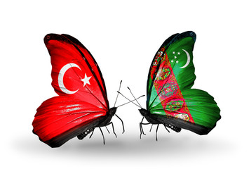 Two butterflies with flags Turkey and Turkmenistan