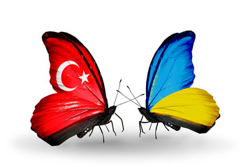 Two butterflies with flags Turkey and Ukraine