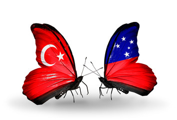 Two butterflies with flags Turkey and Samoa