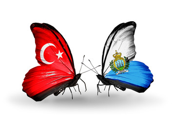 Two butterflies with flags Turkey and San Marino