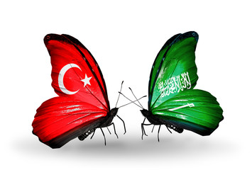 Two butterflies with flags Turkey and  Saudi Arabia