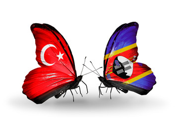 Two butterflies with flags Turkey and Swaziland