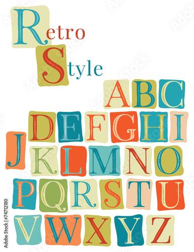 Retro color hand drawn font.  Doodle typographic symbols. - 74712180