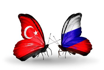 Two butterflies with flags Turkey and Russia