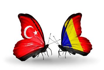 Two butterflies with flags Turkey and Chad, Romania