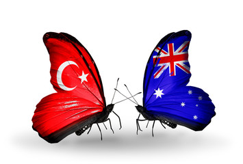 Two butterflies with flags Turkey and Australia
