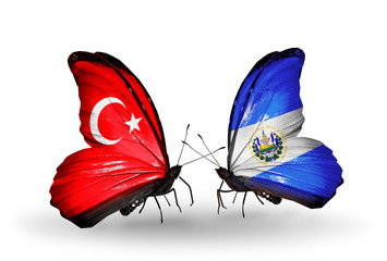 Two butterflies with flags Turkey and Salvador