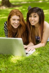 Happy relaxed women using laptop in park