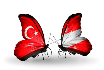Two butterflies with flags Turkey and Austria
