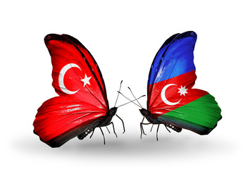 Two butterflies with flags Turkey and Azerbaijan