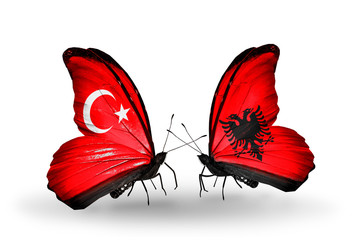 Two butterflies with flags Turkey and Albania